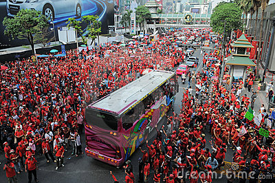 Red-Shirt Protest in Central Bangkok Editorial Photography