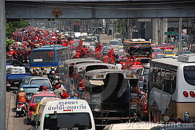 Red Shirt Protest Rally Causes Traffic Jam Editorial Image