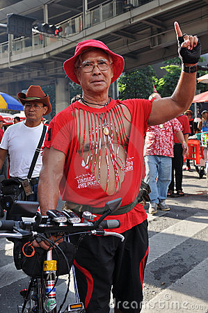 Red-Shirt Protester Editorial Image