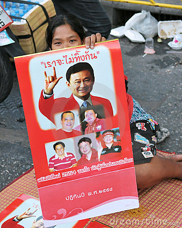 Red-Shirt Protester in Bangkok Editorial Image