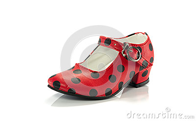 Red shoe with black dots