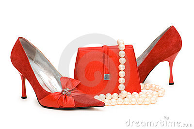 Red shoes, purse and pearl