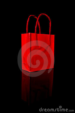 Red shopping bag on black