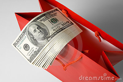 Red Shopping Bag and Dollar