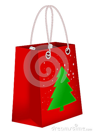 Red shopping bag with Xmas tree