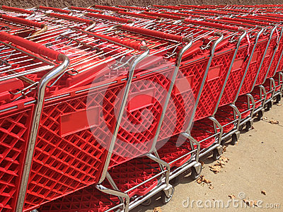Red Shopping Carts Close-Up