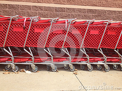 Red Shopping Carts Lined Up