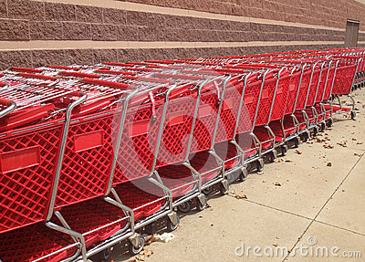 Red Shopping Carts Outside A Store