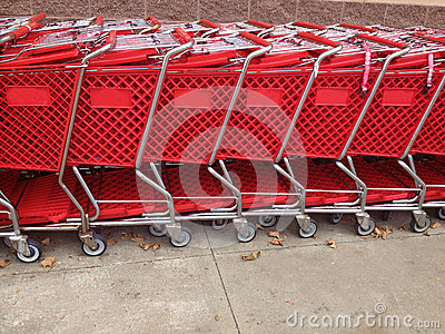 Red Shopping Carts In A Row