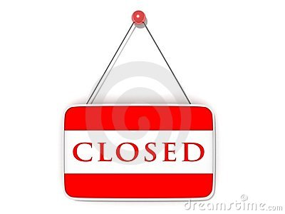 Red shopping closed sign board