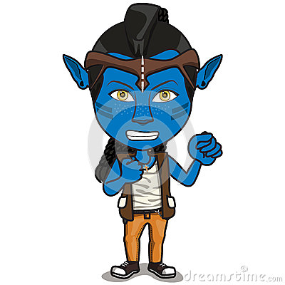 Young Kid Character in Avatar costume