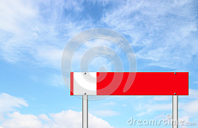 Red sign with blue sky