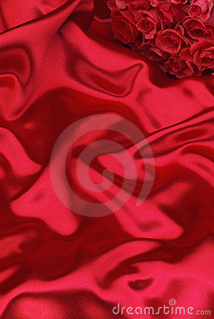 Free Red Silk And Roses Royalty Free Stock Photos - 12113568