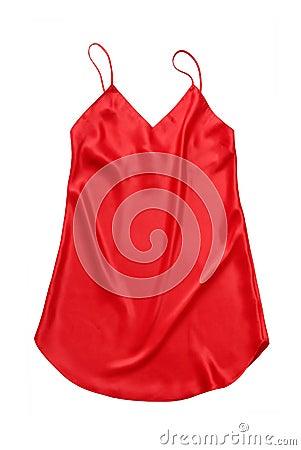 Red silk chemise.