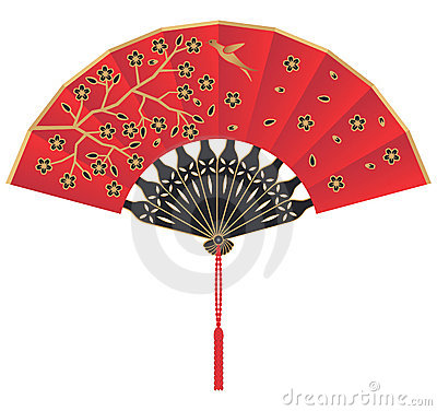 Red Silk Chinese Fan with Flowers and Bird