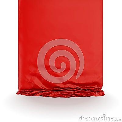 Red silk drapery.