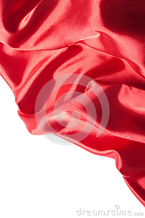 Red silk fabric over white background