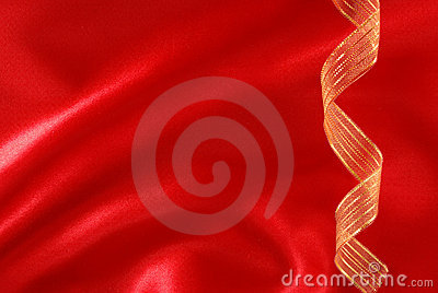 Red silk and golden ribbon