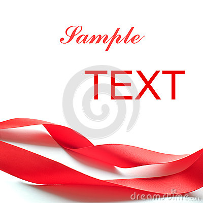 Free Red Silk Ribbon  On The White Stock Photography - 27422282