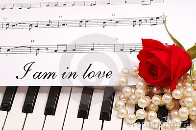 Red silky rose with musical notes