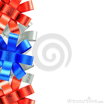 Red silver and blue ribbon frame  isolated on white background