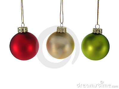 Red Silver Green Christmas Ornaments Isolated.