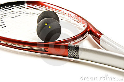 A red and silver squash racket