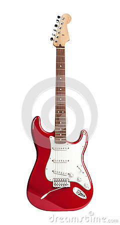 Free Red Six-stringed Electric Guitar Isolated On White Stock Photo - 43387180