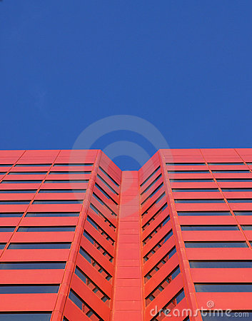 Red skyscraper in edmonton