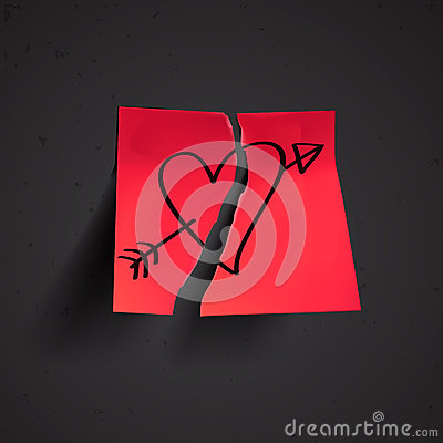 Red small sticky note with heart