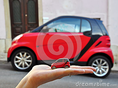 Red smart car: small the smaller Editorial Image