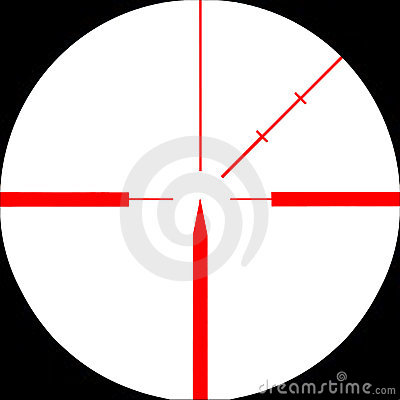 Red sniper rifle sight  targeted on. Isolated.
