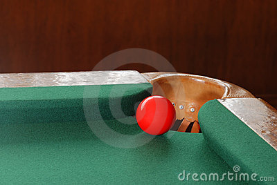 Red Snooker Ball By Corner Pocket