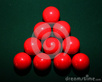Red Snooker Balls on Table