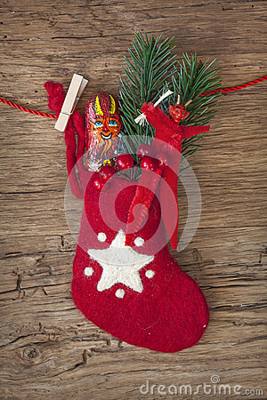 Red sock with chocolate Krampus