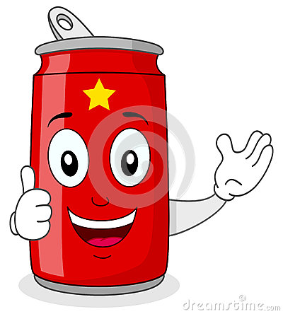 Red Soda Can Character with Thumbs Up