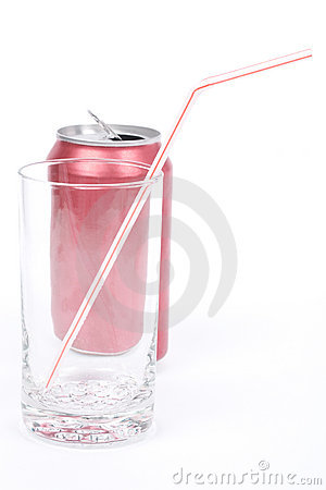 Red soda can and empty glass