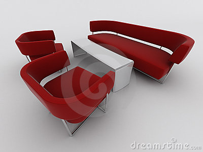 Red sofa and armchairs