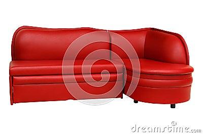 Red sofa. Furniture.