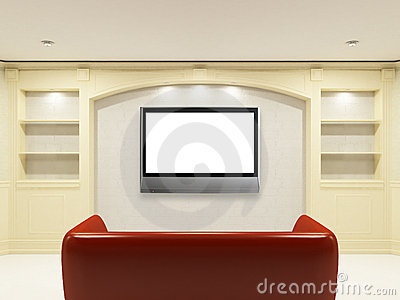 Red sofa with LCD tv on the wall