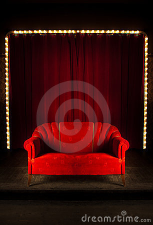 Free Red Sofa On The Stage Stock Photos - 17621643