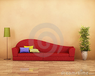 Red sofa with parquet , lamp, plant and cushions