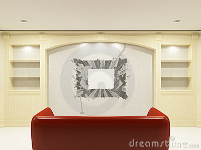 Red sofa with place on the wall