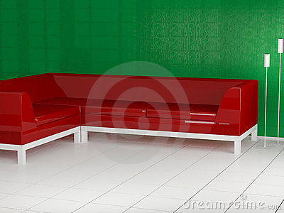 Red sofa in the room, 3d