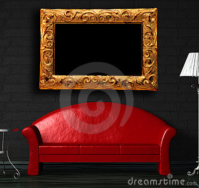 Free Red Sofa, Table And Standard Lamp With Frame Stock Images - 15943704