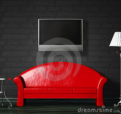 Free Red Sofa, Table  And Standard Lamp With LCD Tv Royalty Free Stock Photo - 13050265