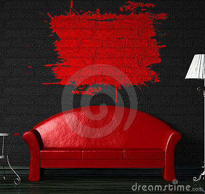 Free Red Sofa, Table And Standard Lamp With Splash Stock Photo - 15943730