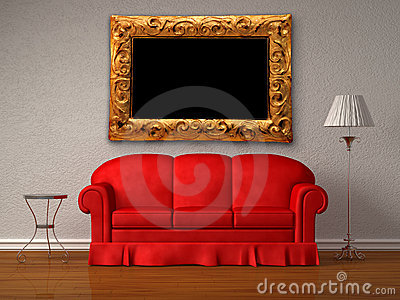 Red sofa,  table and lamp with antique frame