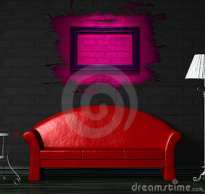 Red sofa, table and lamp with splash hole