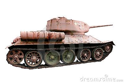 Red Soviet battle tank T-34 isolated on white